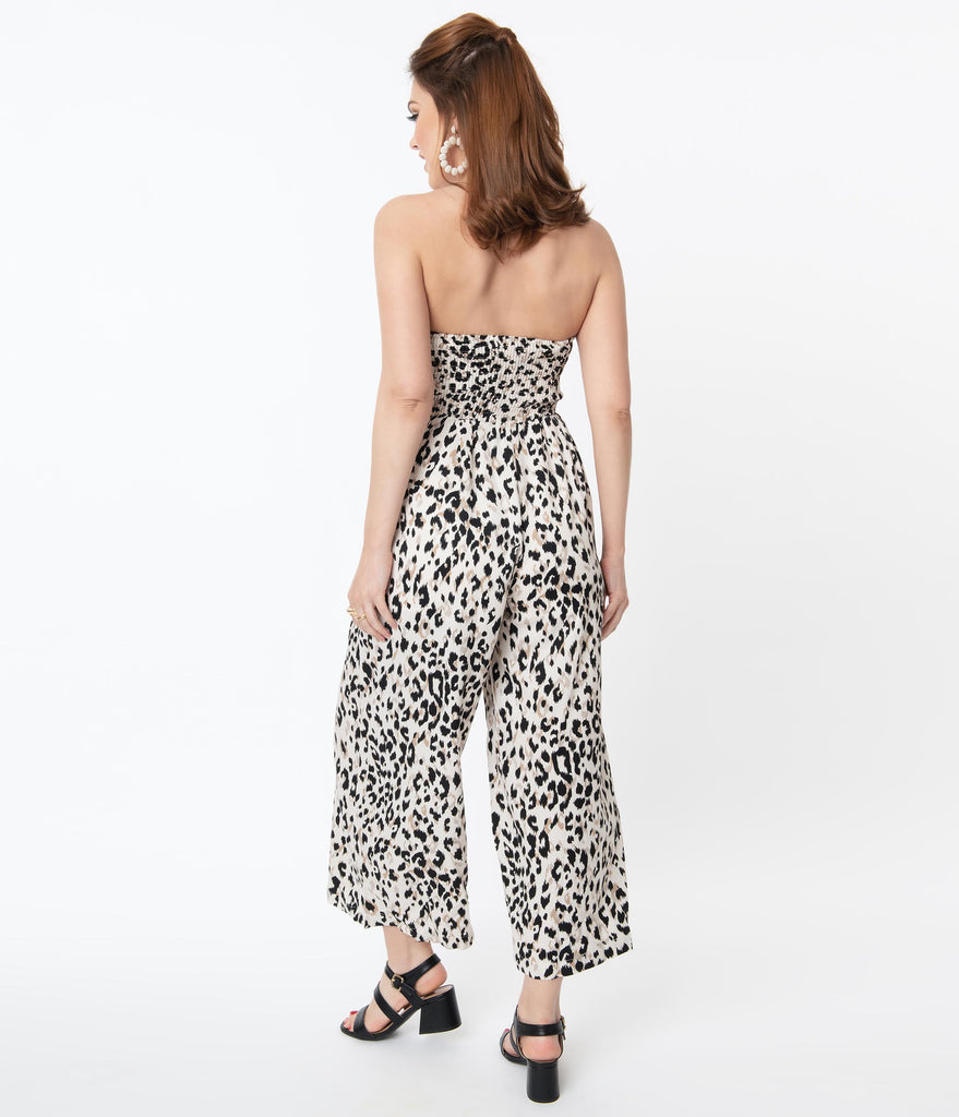 Retro Off White Animal Print Strapless Jumpsuit