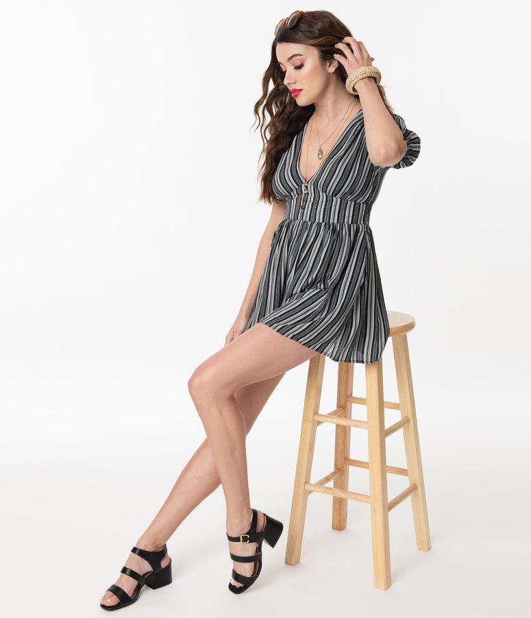 Black & White Pattern Stripes Short Sleeve Romper