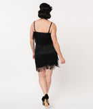 Unique Vintage 1920s Style Black Speakeasy Tiered Fringe Flapper Dress