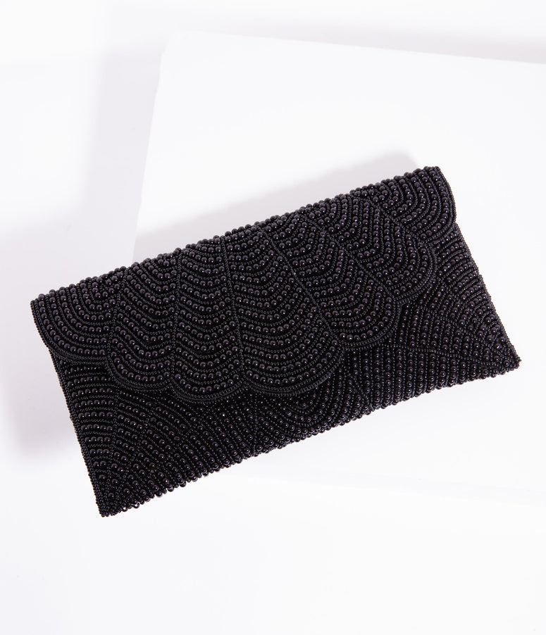 Black Beaded Evening Envelope Clutch