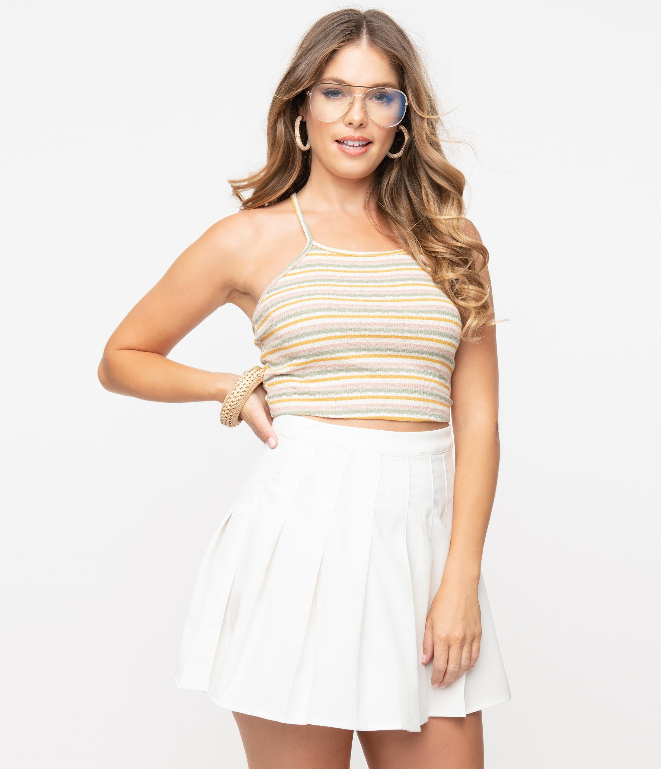 70s Fashion   What Did Women Wear in the 1970s? Cream  Multicolor Stripe Knit Crop Top $34.00 AT vintagedancer.com