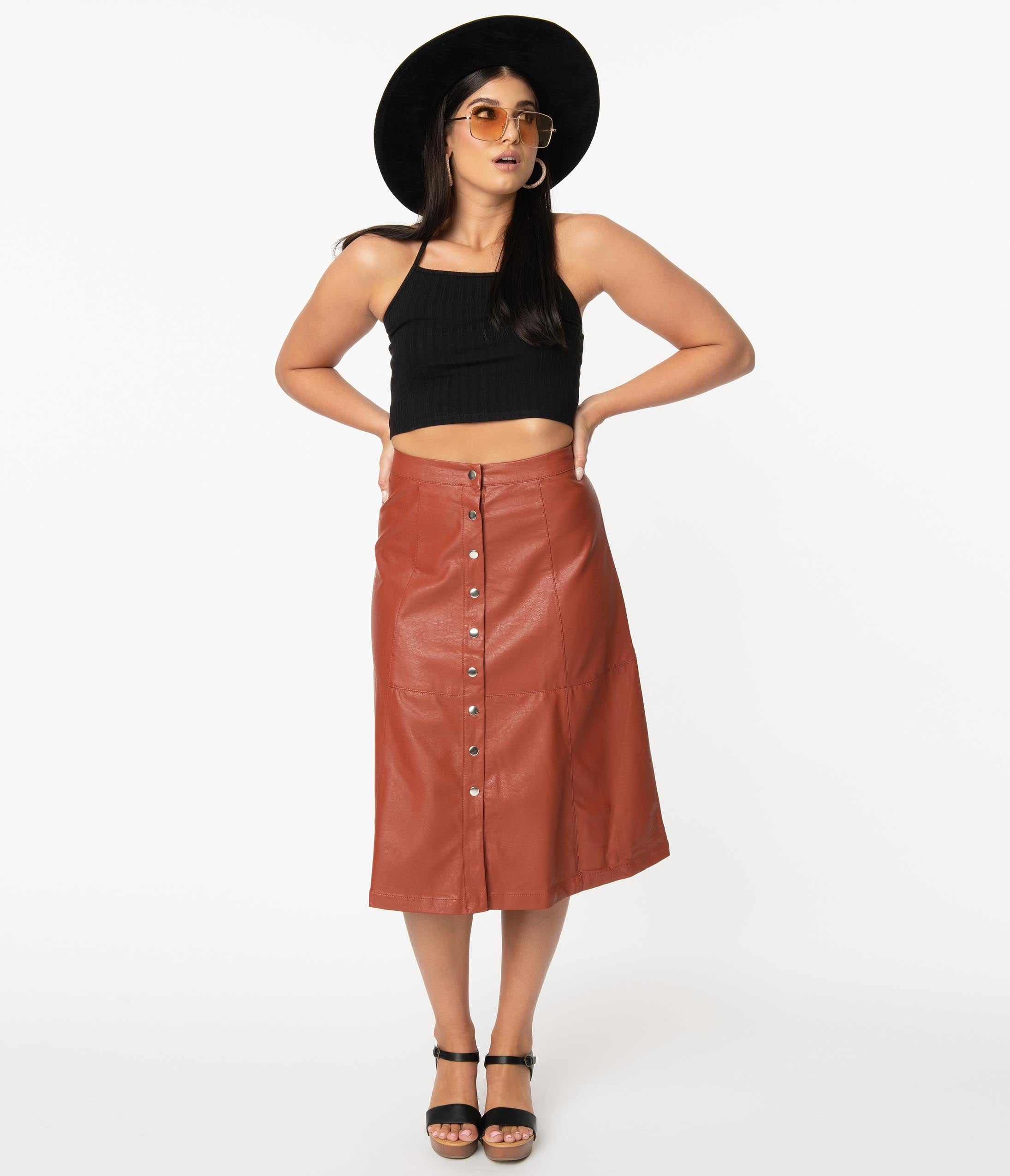 70s Fashion   What Did Women Wear in the 1970s? Retro Rust Leatherette Button Up Midi Skirt $58.00 AT vintagedancer.com