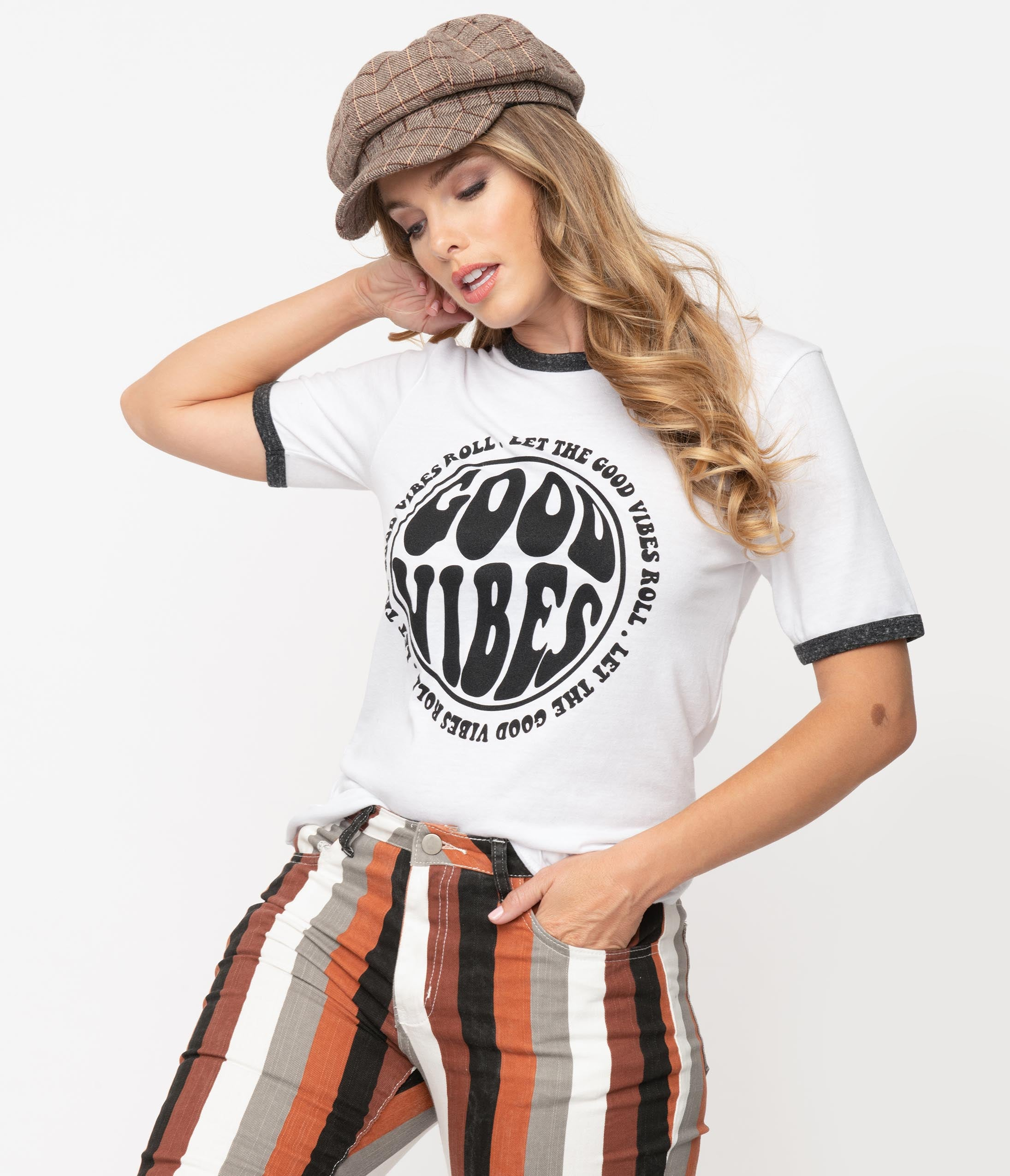 70s Clothes | Hippie Clothes & Outfits White Good Vibes Ringer Womens Graphic Tee $38.00 AT vintagedancer.com