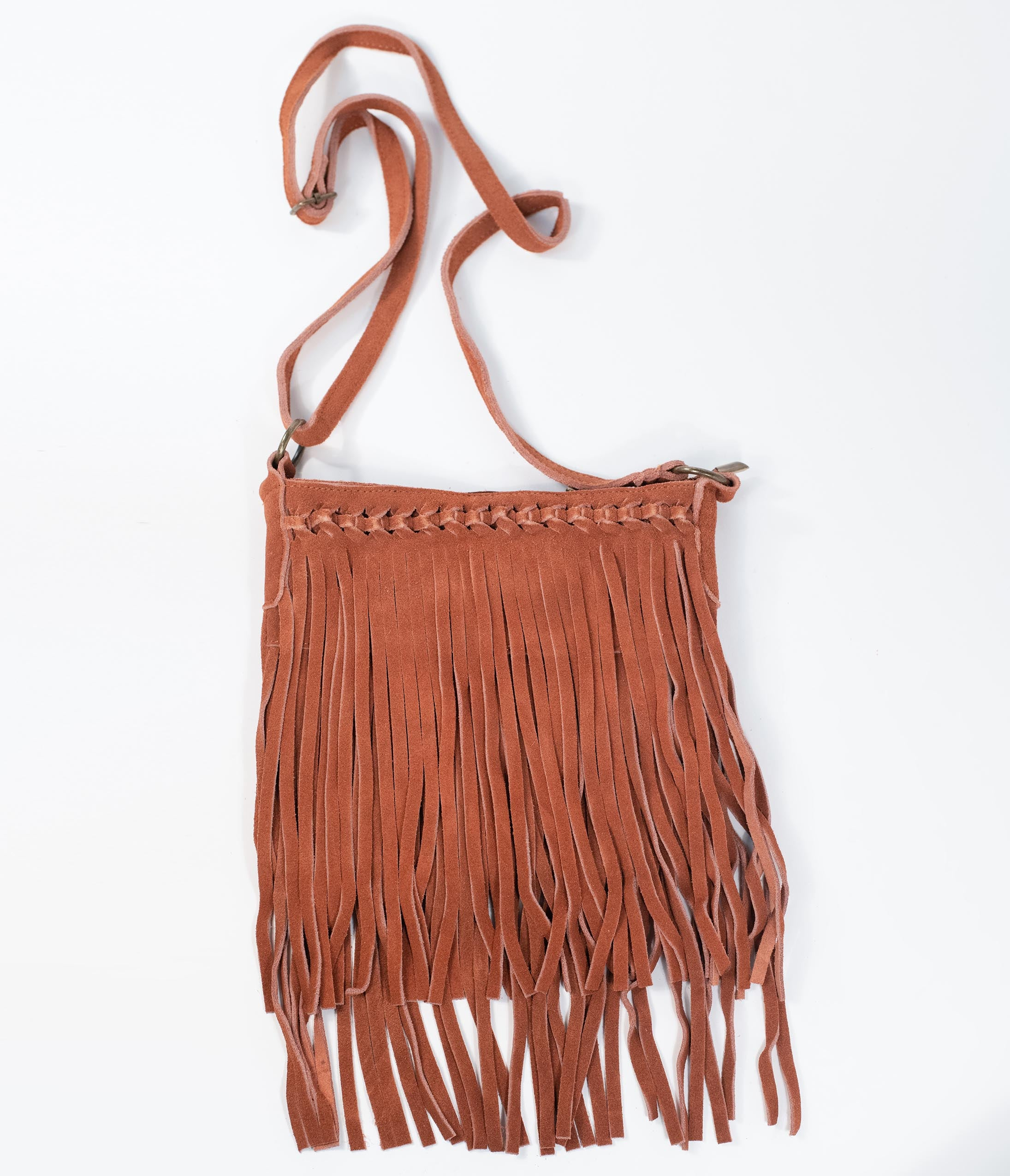 70s Fashion   What Did Women Wear in the 1970s? Camel Brown Suede Fringe Purse $48.00 AT vintagedancer.com