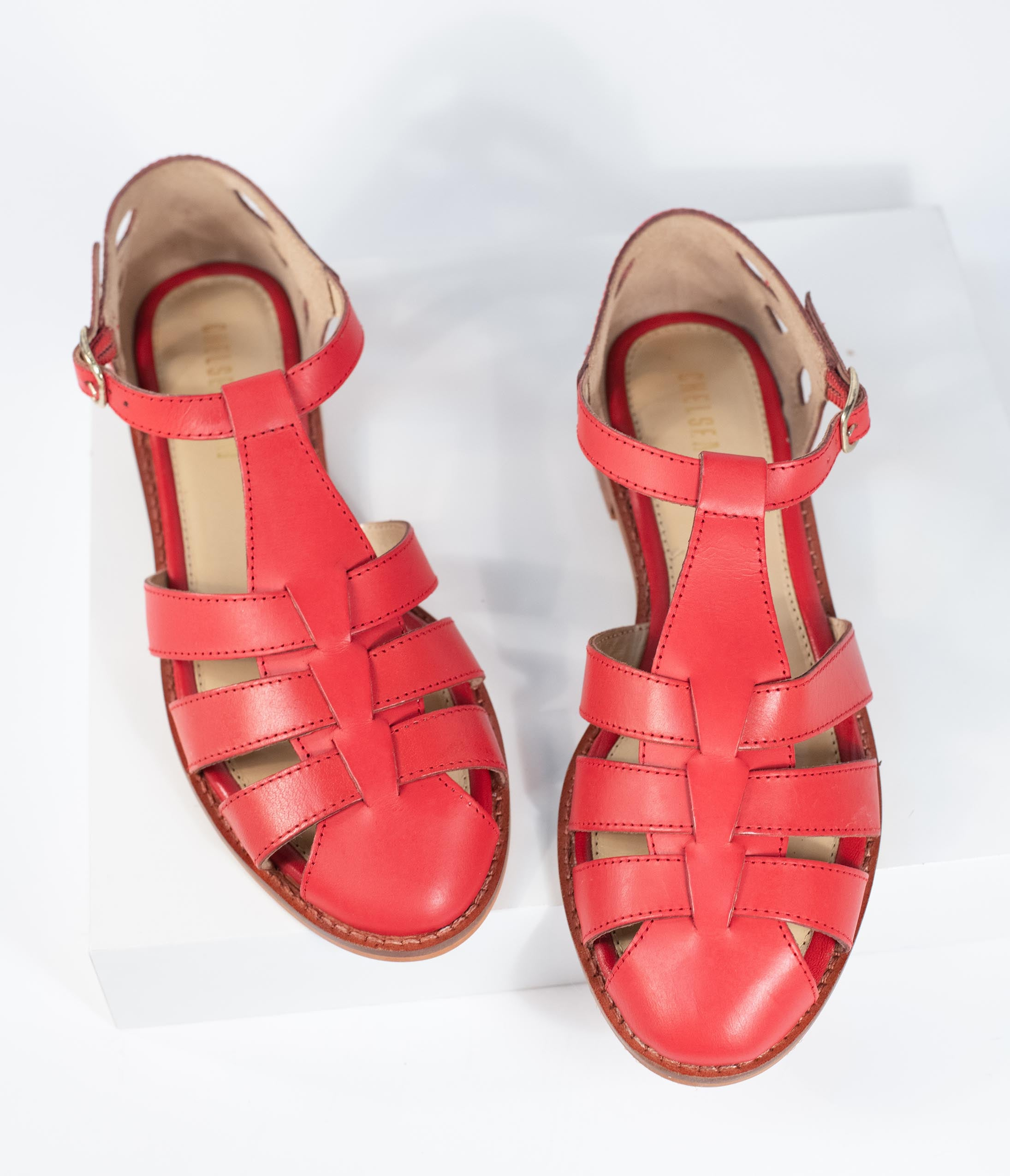 1940s Women's Footwear Chelsea Crew Red Leather Carina Sandals $86.00 AT vintagedancer.com