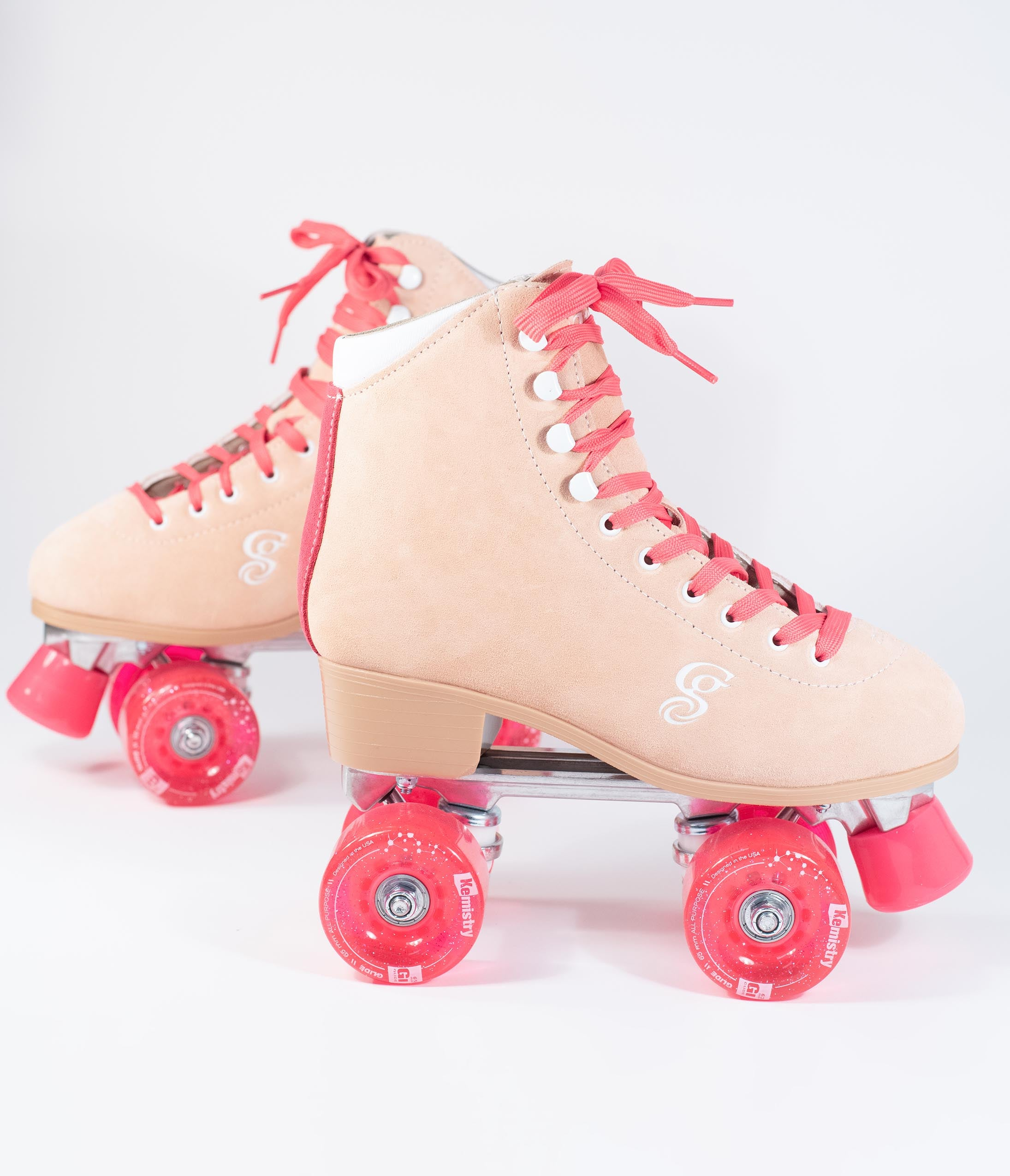 1980s Clothing, Fashion | 80s Style Clothes Peach Pink Suede Carlin Roller Skates $110.00 AT vintagedancer.com