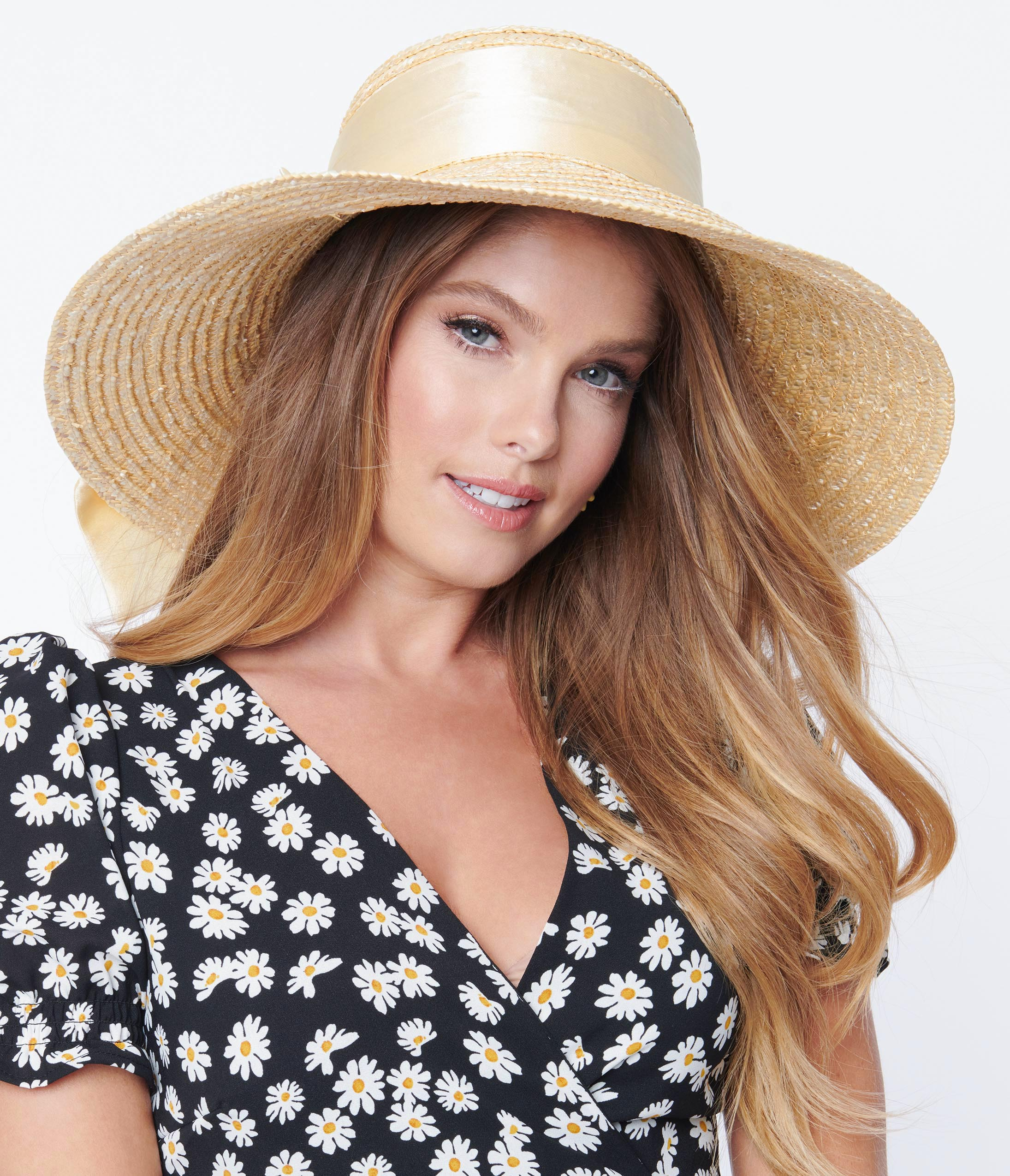 1950s Women's Hat Styles & History Straw Sun Hat With Bow $42.00 AT vintagedancer.com