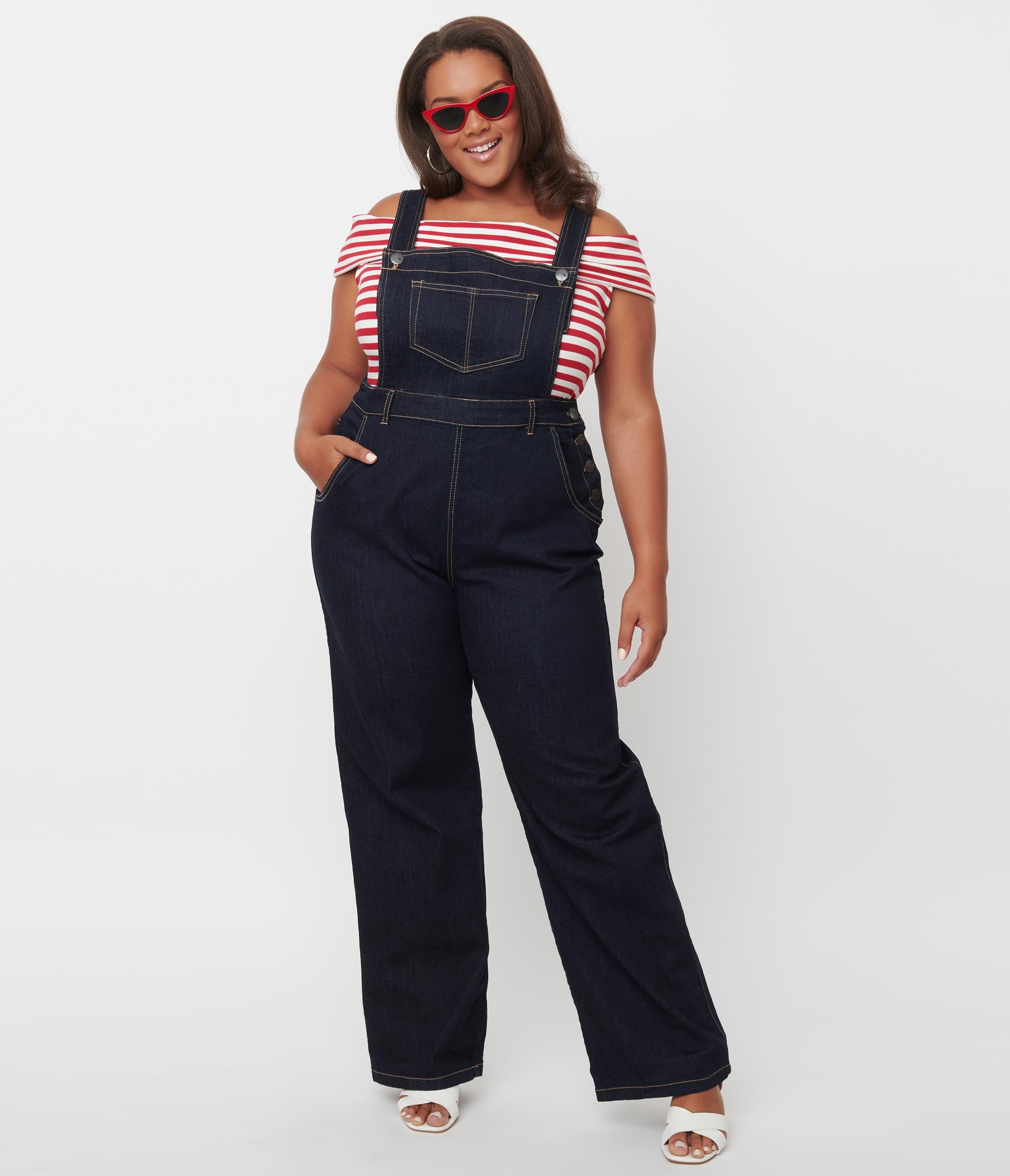 1950s Style Clothing & Fashion Hell Bunny Plus Size Dark Denim Ellie May Overalls $78.00 AT vintagedancer.com