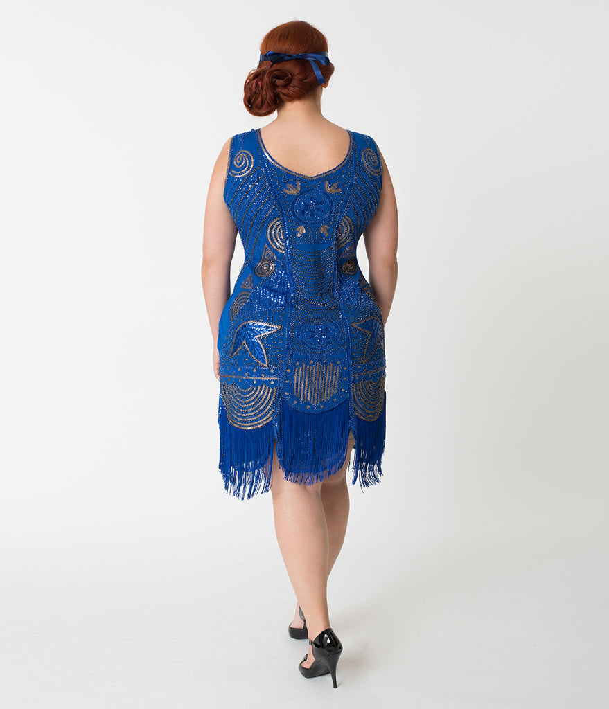 Unique Vintage Plus Size 1920s Deco Royal Blue Beaded Fringe Camille Flapper Dress