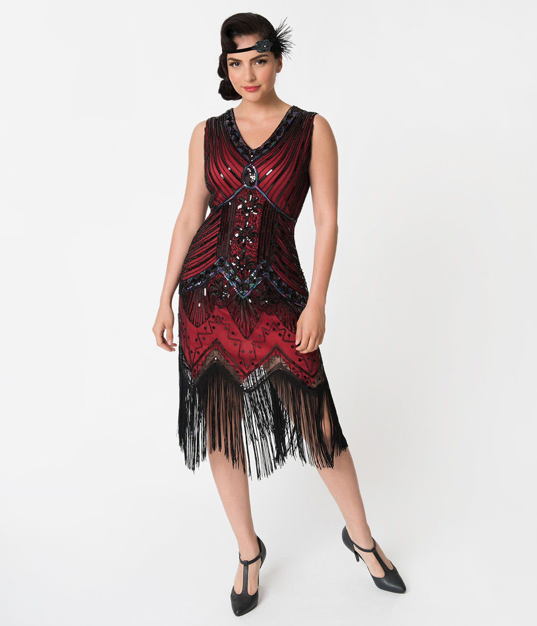 Roaring 20s Costumes- Flapper Costumes, Gangster Costumes Unique Vintage 1920S Deco Red  Black Veronique Fringe Flapper Dress $98.00 AT vintagedancer.com