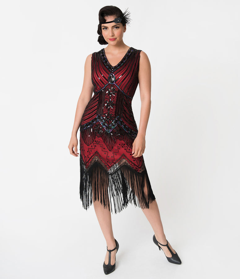 Unique Vintage 1920s Deco Red & Black Veronique Fringe Flapper Dress