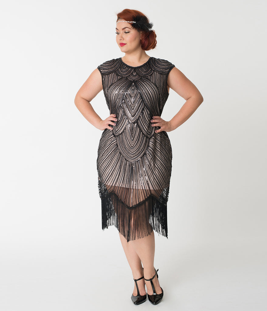 Unique Vintage Plus Size Pink & Black Sequin Cap Sleeve Lucie Fringe Flapper Dress