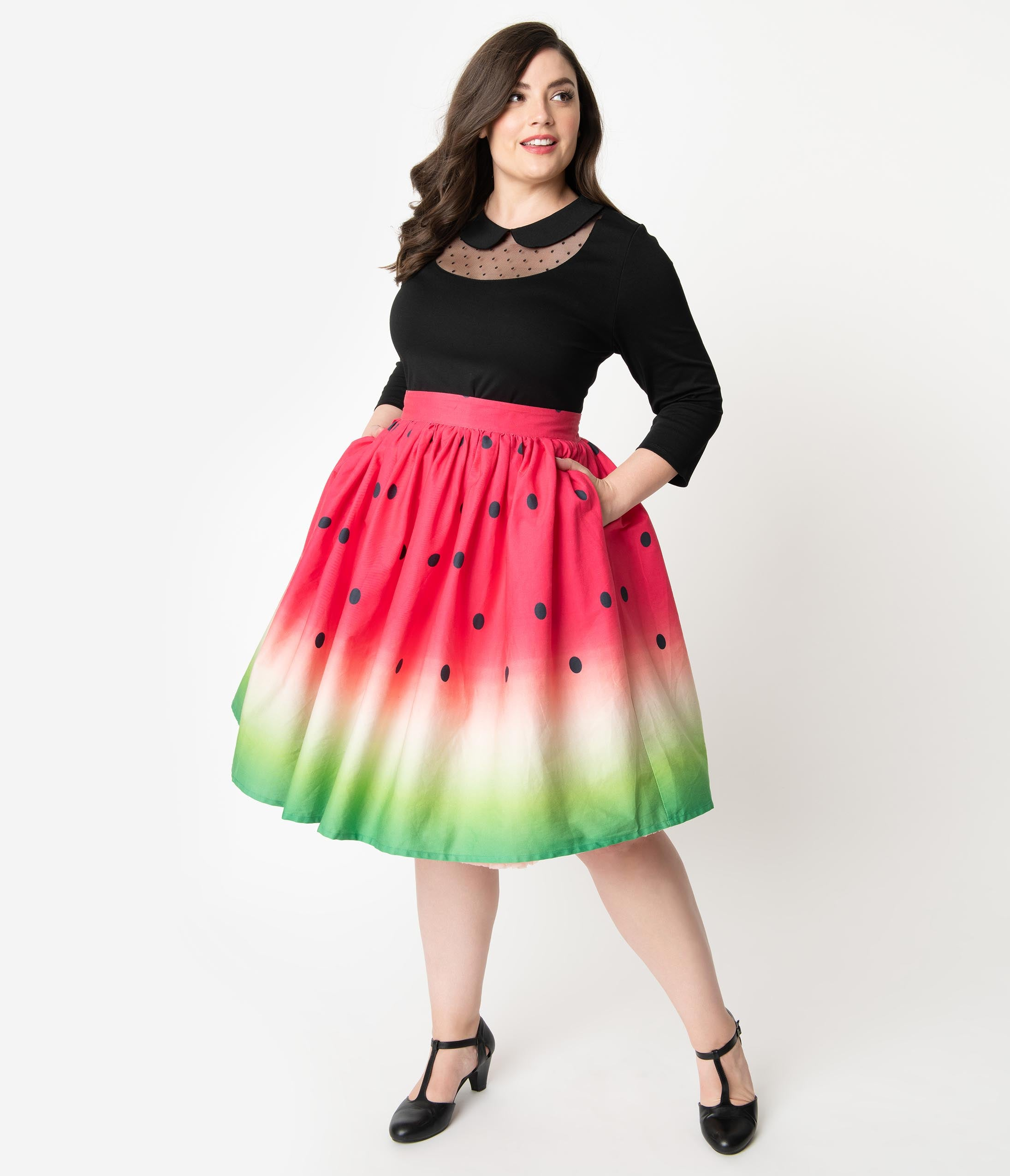 1950s Plus Size Dresses, Swing Dresses Unique Vintage Plus Size 1950S High Waist Watermelon Circle Swing Skirt $68.00 AT vintagedancer.com