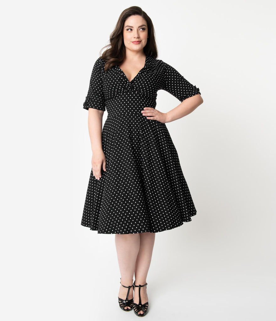 Unique Vintage Plus Size 1950s Black & White Dot Delores Swing Dress with Sleeves