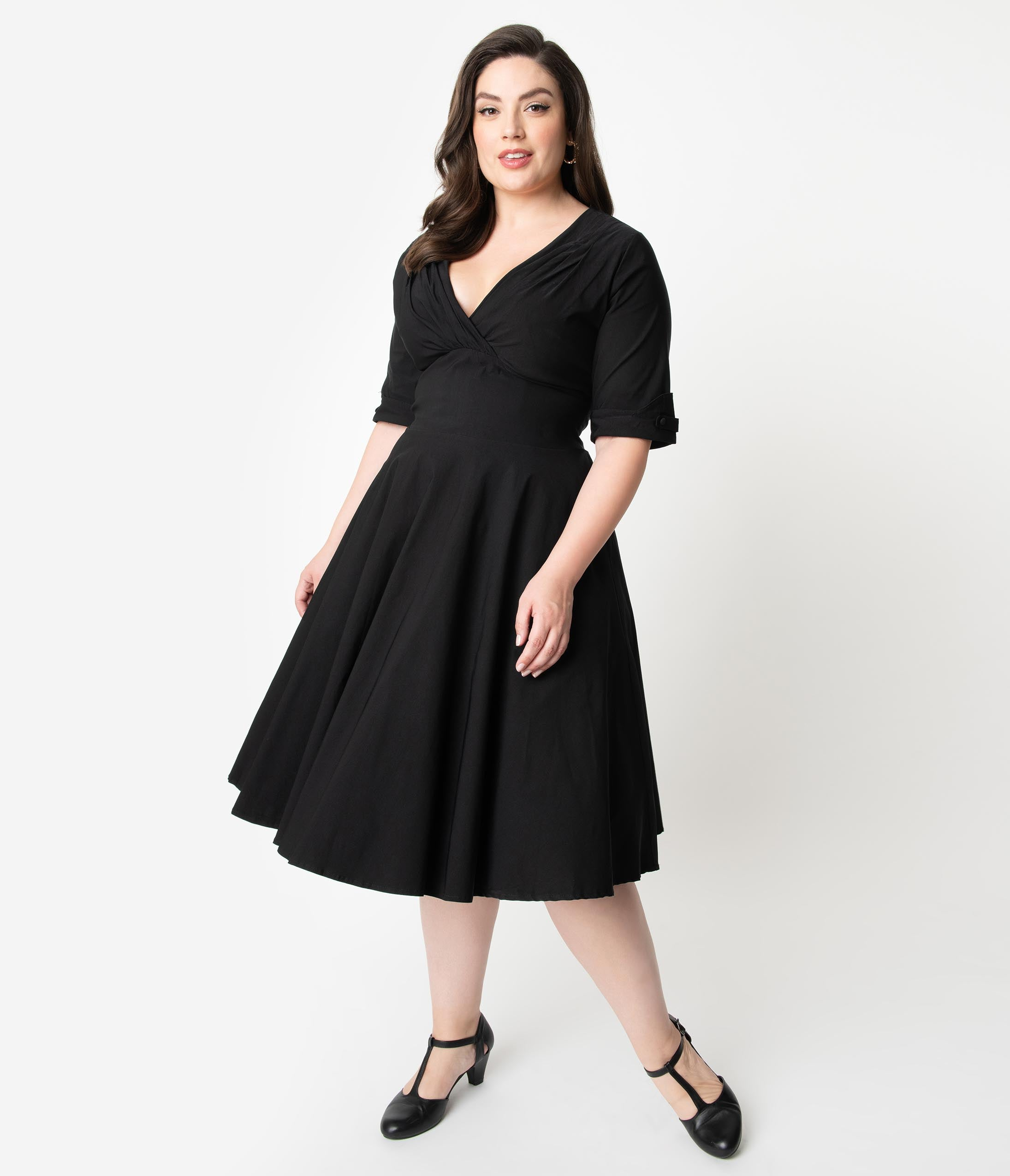 1950s Plus Size Dresses, Swing Dresses Unique Vintage Plus Size 1950S Black Delores Swing Dress With Sleeves $88.00 AT vintagedancer.com