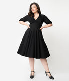 Unique Vintage Plus Size 1950s Black Delores Swing Dress with Sleeves