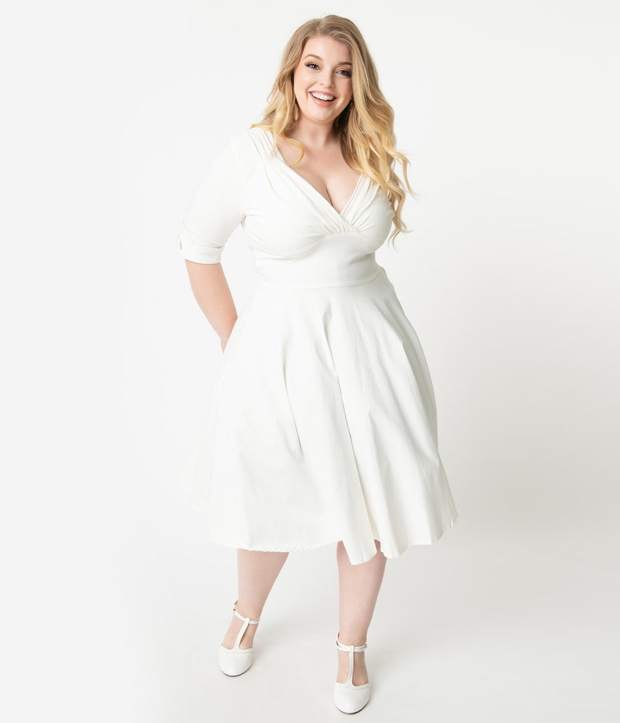 Unique Vintage Plus Size 1950s Ivory Delores Swing Dress with Sleeves