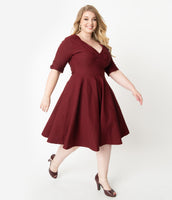 Plus Size A-line V-neck Elbow Length Sleeves Above the Knee Swing-Skirt Natural Waistline Banding Gathered Pleated Vintage Dress