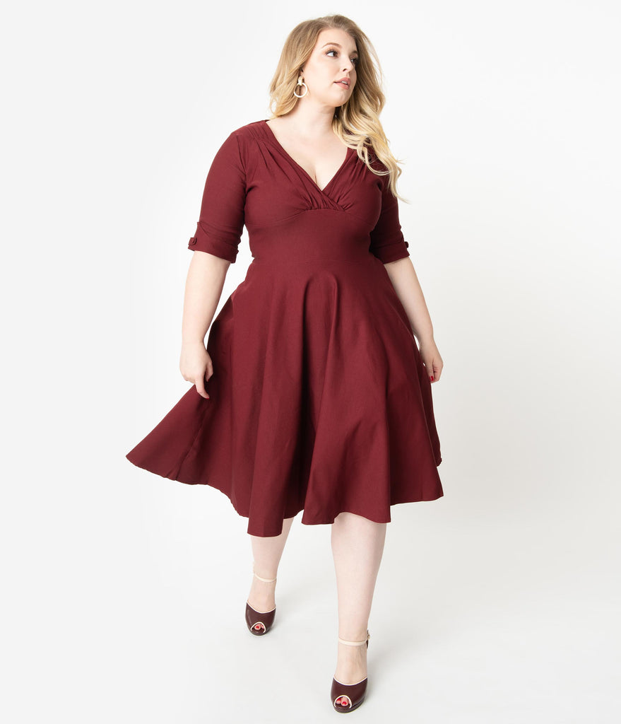 Unique Vintage Plus Size 1950s Burgundy Red Delores Swing Dress with Sleeves