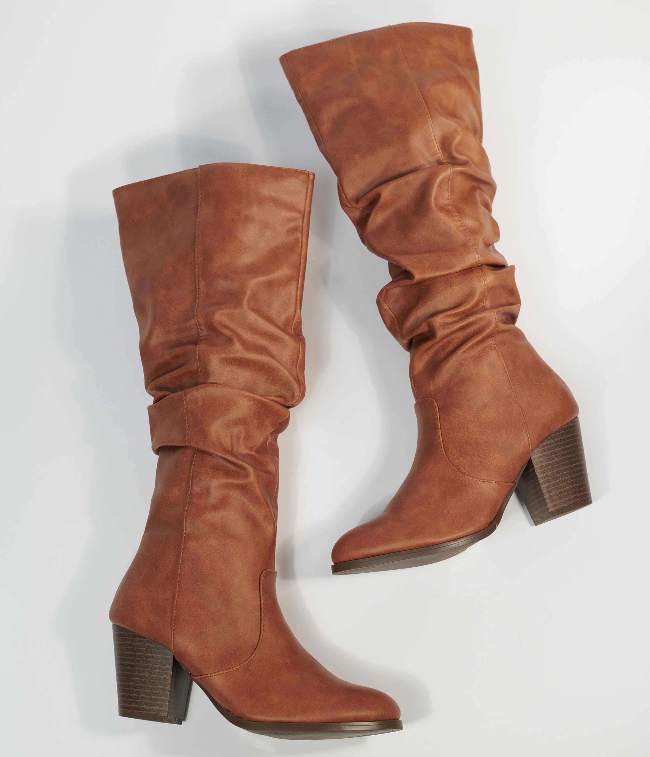 80s Shoes, Sneakers, Jelly flats  1980s Shoes Brown Leatherette Slouchy Knee High Boots $62.00 AT vintagedancer.com