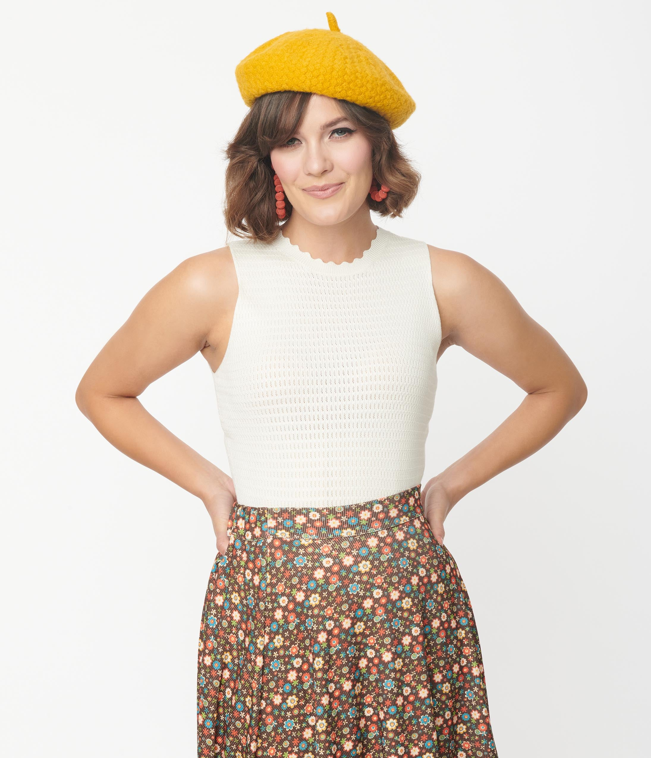 1960s Style Clothing & 60s Fashion Ivory Crochet Bailey Sleeveless Knit Top $39.00 AT vintagedancer.com