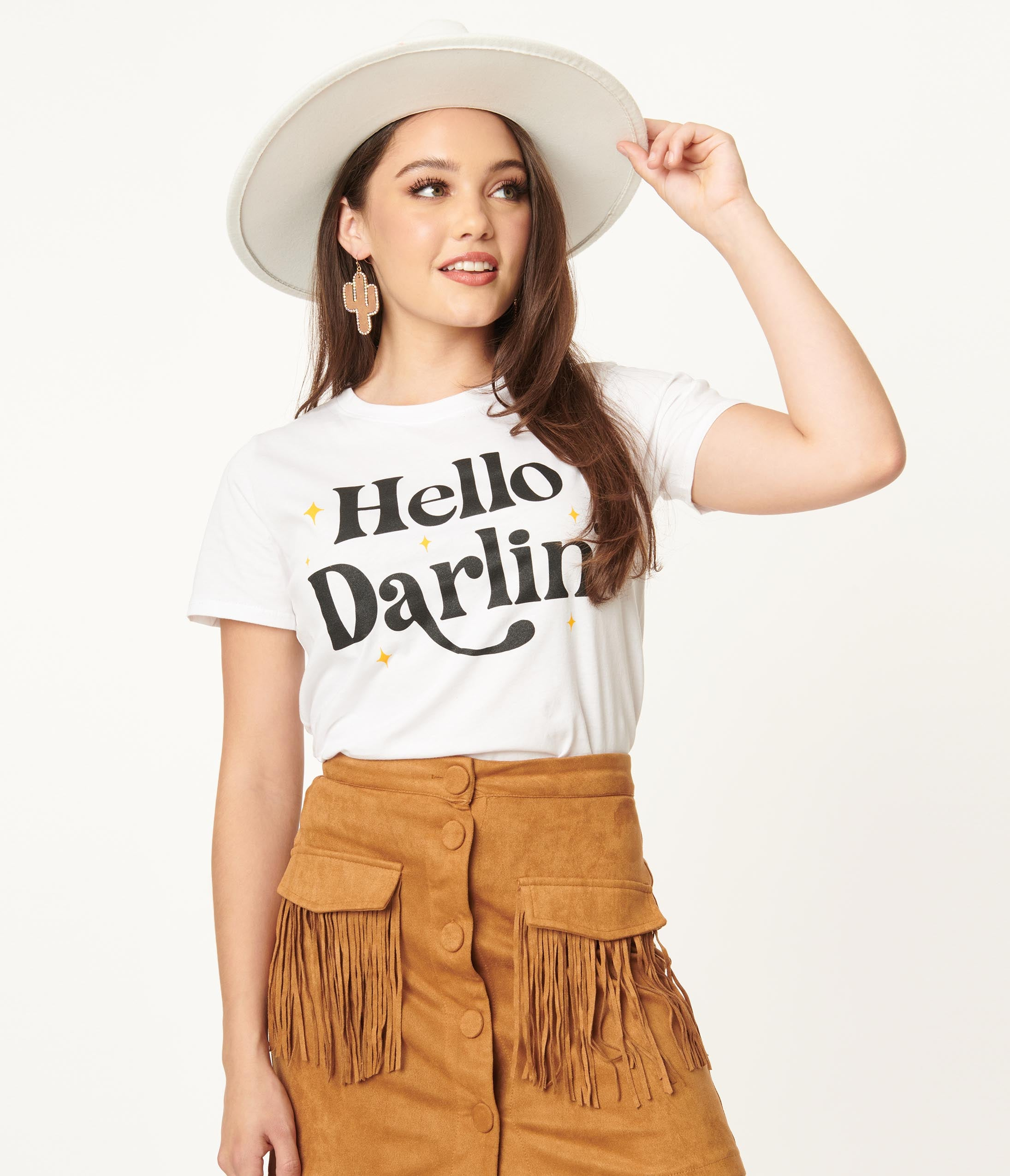 Vintage Western Wear Clothing, Outfit Ideas Hello Darling Unisex Graphic Tee $36.00 AT vintagedancer.com
