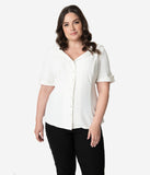 Unique Vintage Plus Size 1940s White Button Up Short Sleeve Coco Top