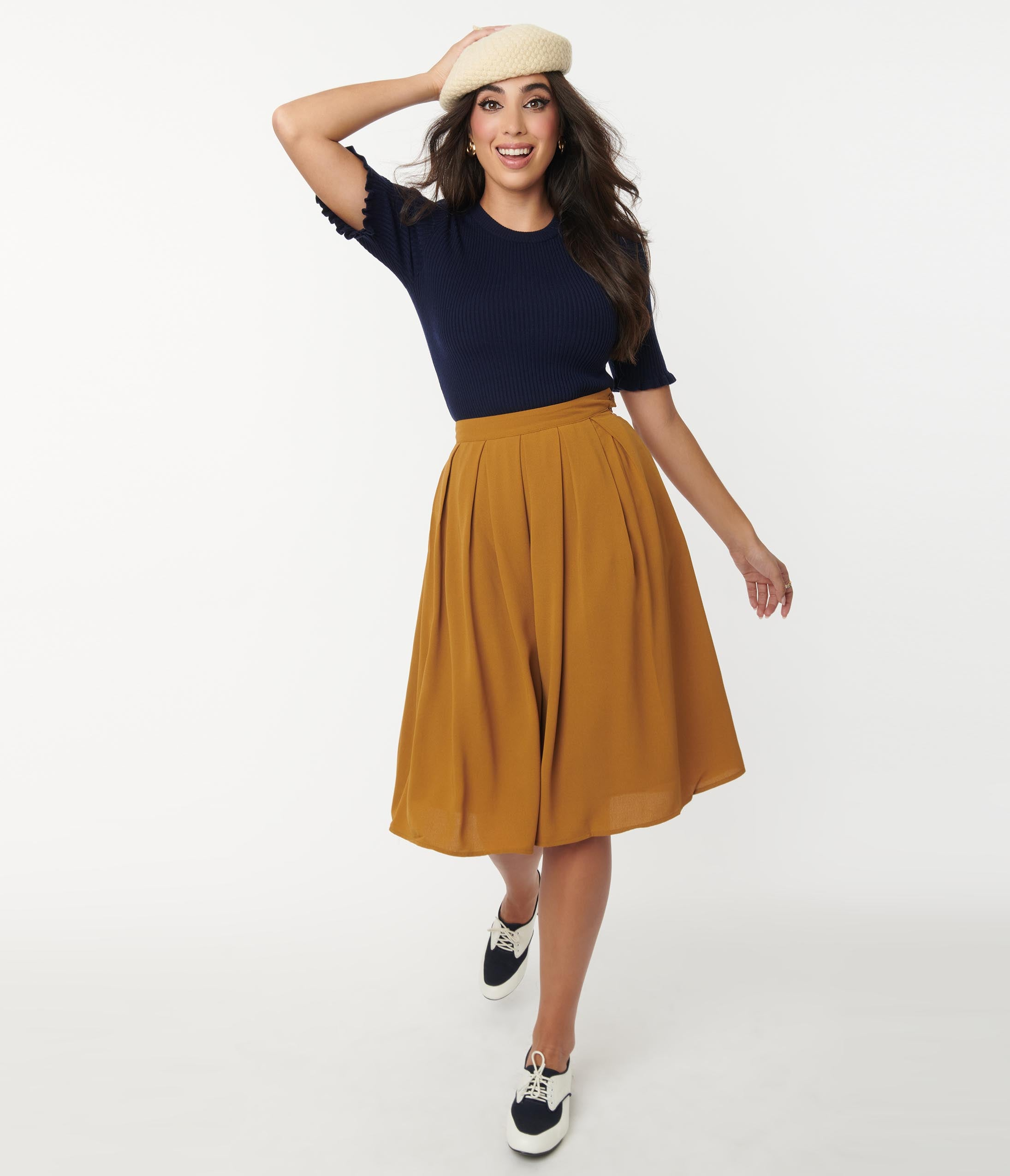 1960s Style Clothing & 60s Fashion Camel Brown Pleated Midi Skirt $58.00 AT vintagedancer.com