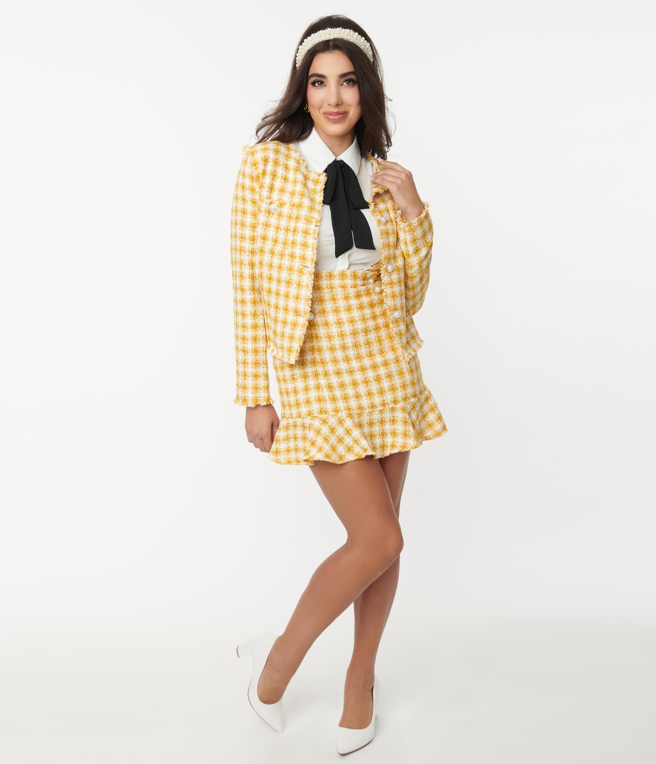 90s Clothing Outfits You Can Buy Now Mustard  Ivory Gingham Tweed Suspender Skirt $58.00 AT vintagedancer.com