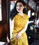 Unique Vintage Plus Size Mustard Yellow & Red Floral Print Amelia Swing Dress