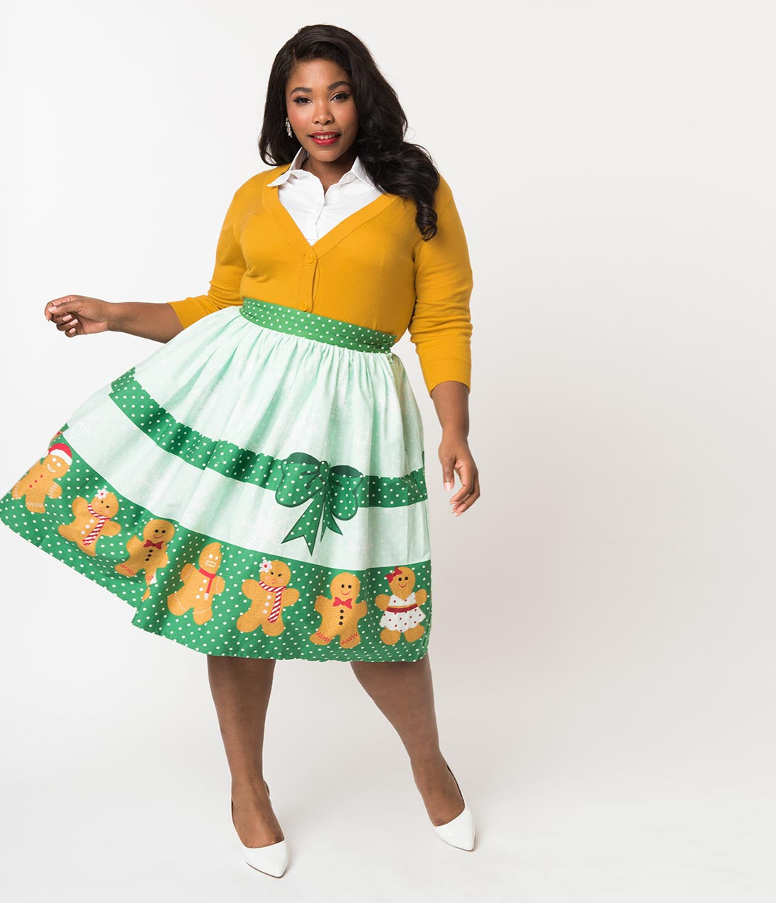 Vintage Christmas Dress | Party Dresses | Night Out Outfits Unique Vintage Plus Size 1950S Style Gingerbread Darlings High Waist Cotton Swing Skirt $78.00 AT vintagedancer.com