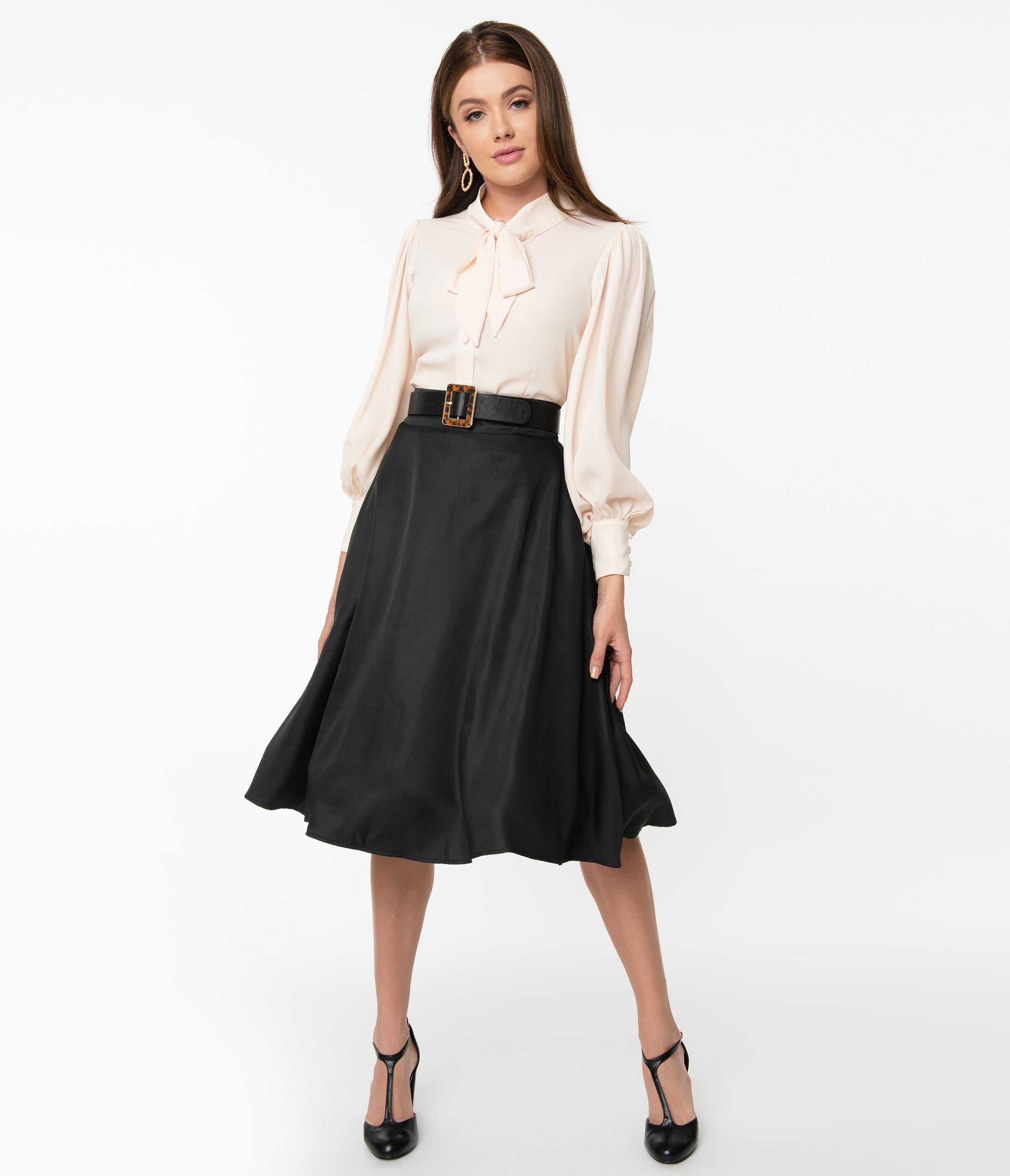 1940s Teenage Fashion: Girls Unique Vintage Retro Style Black High Waist Vivien Swing Skirt $48.00 AT vintagedancer.com