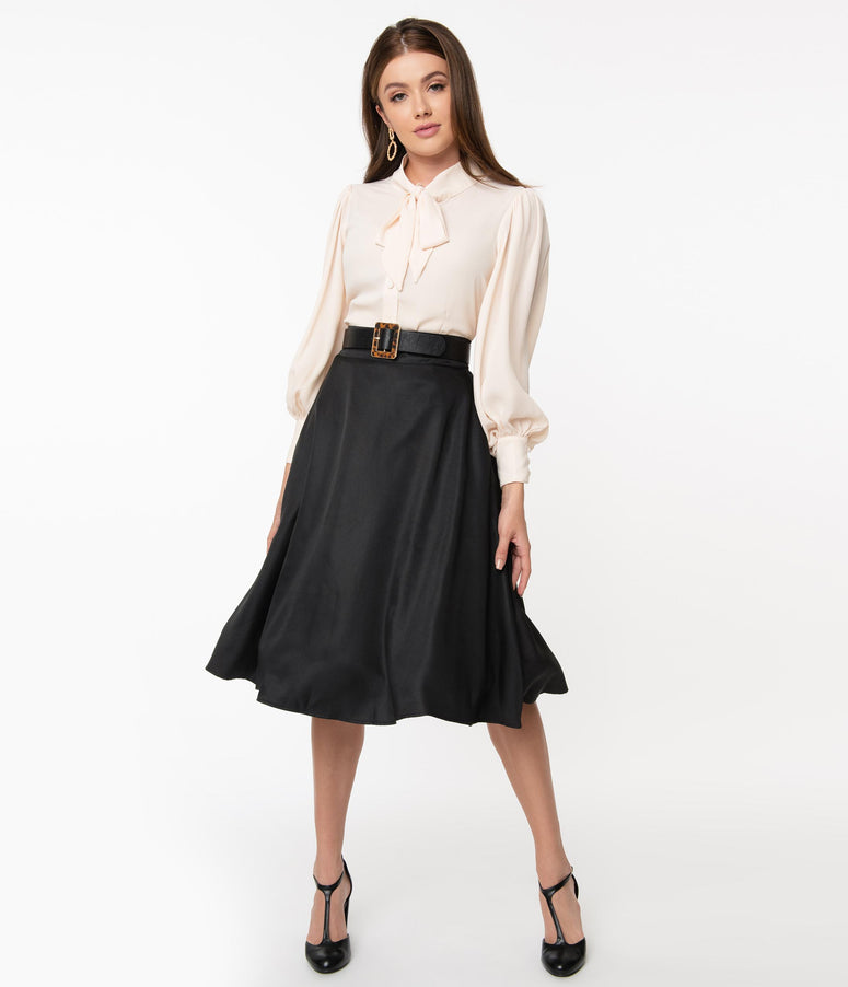 Unique Vintage Retro Style Black High Waist Vivien Swing Skirt
