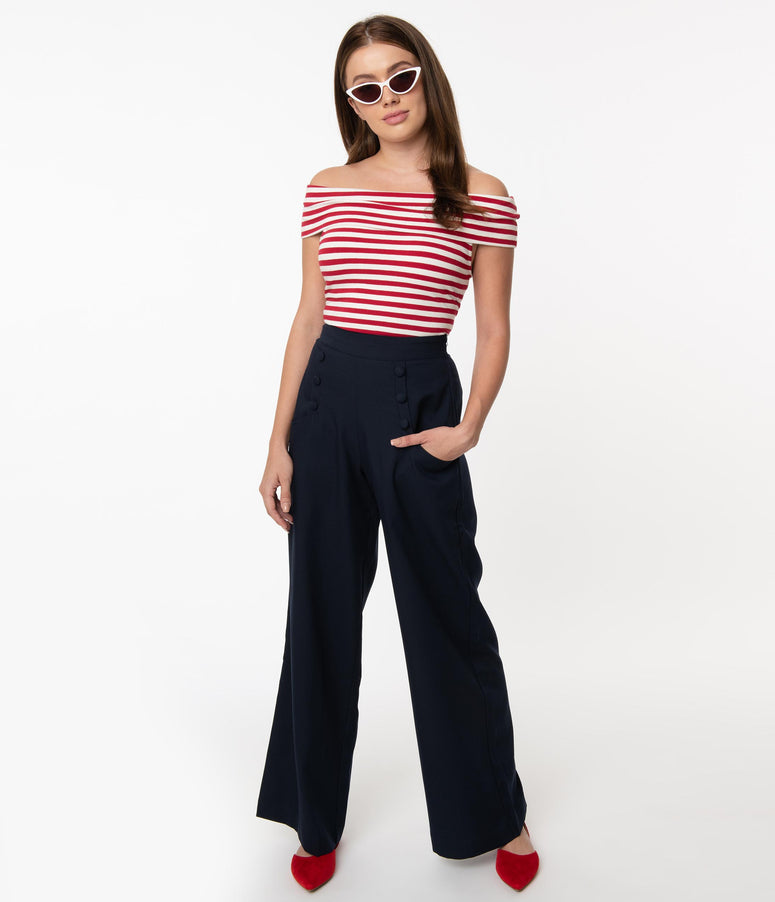 Unique Vintage 1940s Style Navy Blue High Waist Sailor Ginger Pants