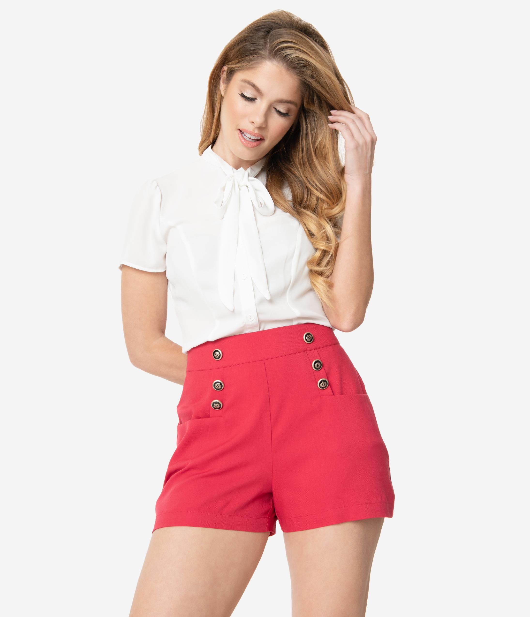 1950s Pinup Shorts, Retro Shorts Unique Vintage 1940S Style Red High Waist Sailor Debbie Shorts $48.00 AT vintagedancer.com