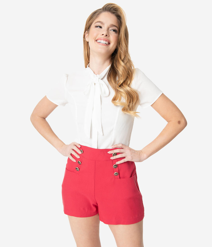 Unique Vintage 1940s Style Red High Waist Sailor Debbie Shorts