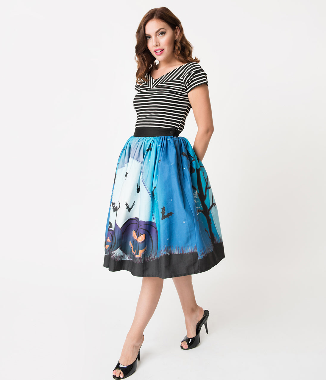 1950s Swing Skirt, Poodle Skirt, Pencil Skirts Unique Vintage 1950S Style Blue Moon  Pumpkins Print High Waist Circle Swing Skirt $59.00 AT vintagedancer.com