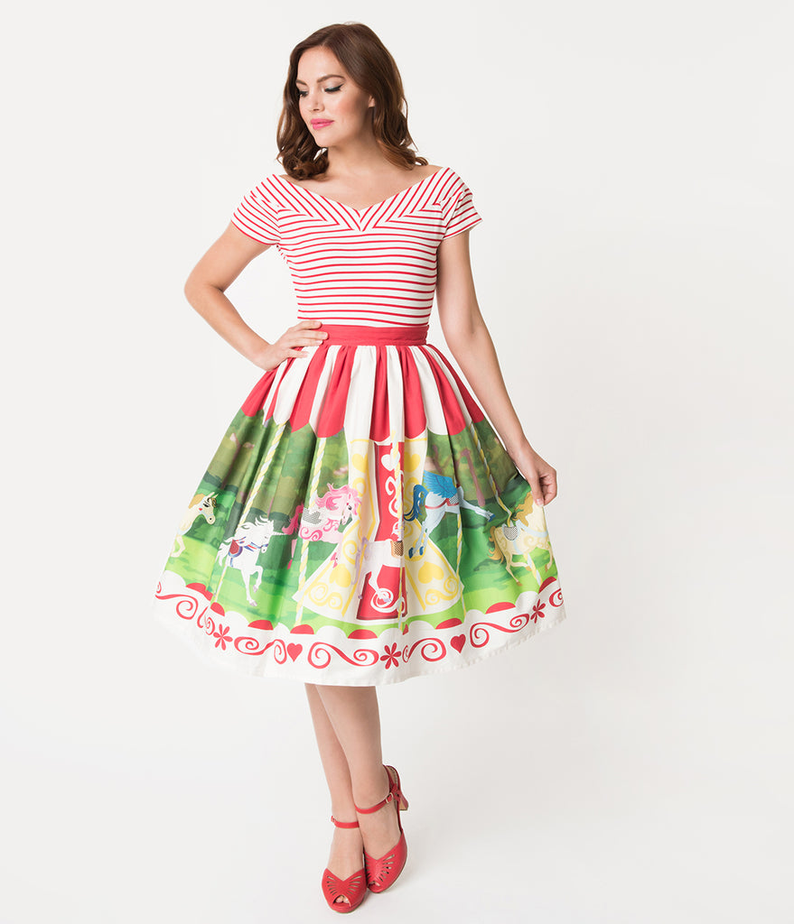 Unique Vintage 1950s Style Carousel Cotton High Waist Swing Skirt