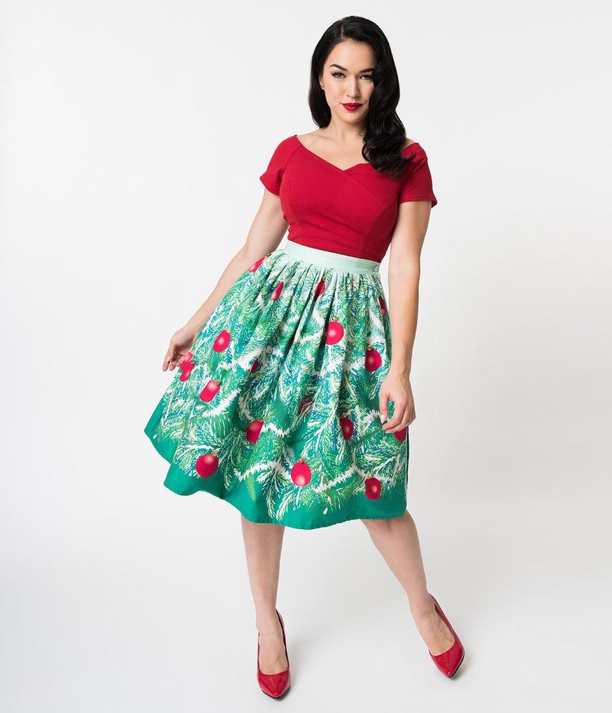 Unique Vintage 1950s Style Jingle Bells Evergreen High Waist Swing Skirt