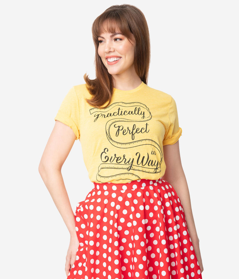 Unique Vintage Yellow Practically Perfect Short Sleeve Unisex Tee
