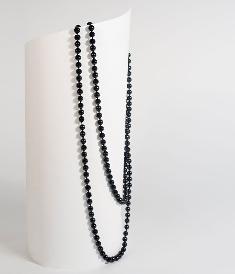 "Black 60"" Long Pearl Necklace"