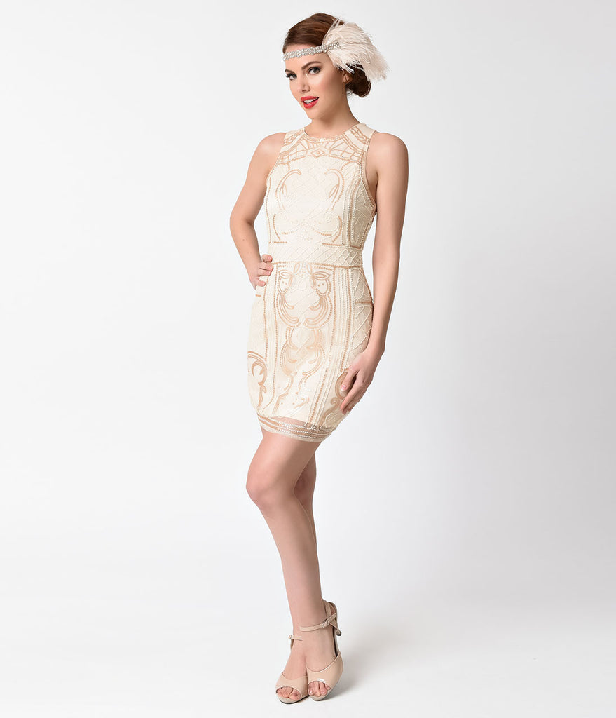 a77ee62cb1a 1920s Beige   Gold Beaded Sequin Sleeveless Short Flapper Dress – Unique  Vintage