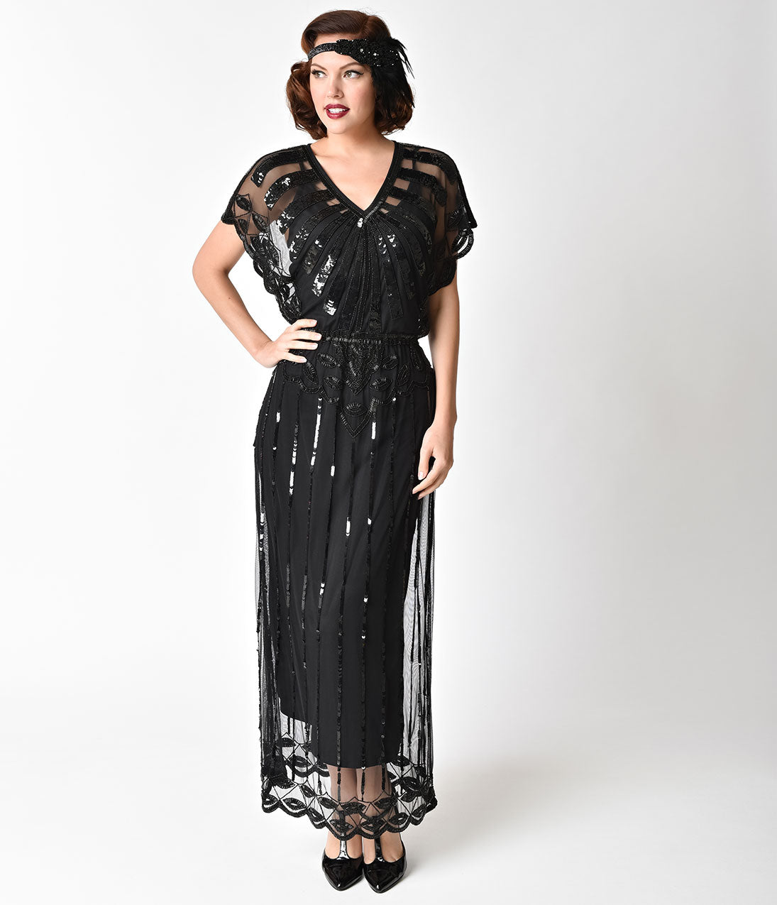 Downton Abbey Inspired Dresses 1920S Black Beaded Deco Angelina Maxi Flapper Dress $126.00 AT vintagedancer.com