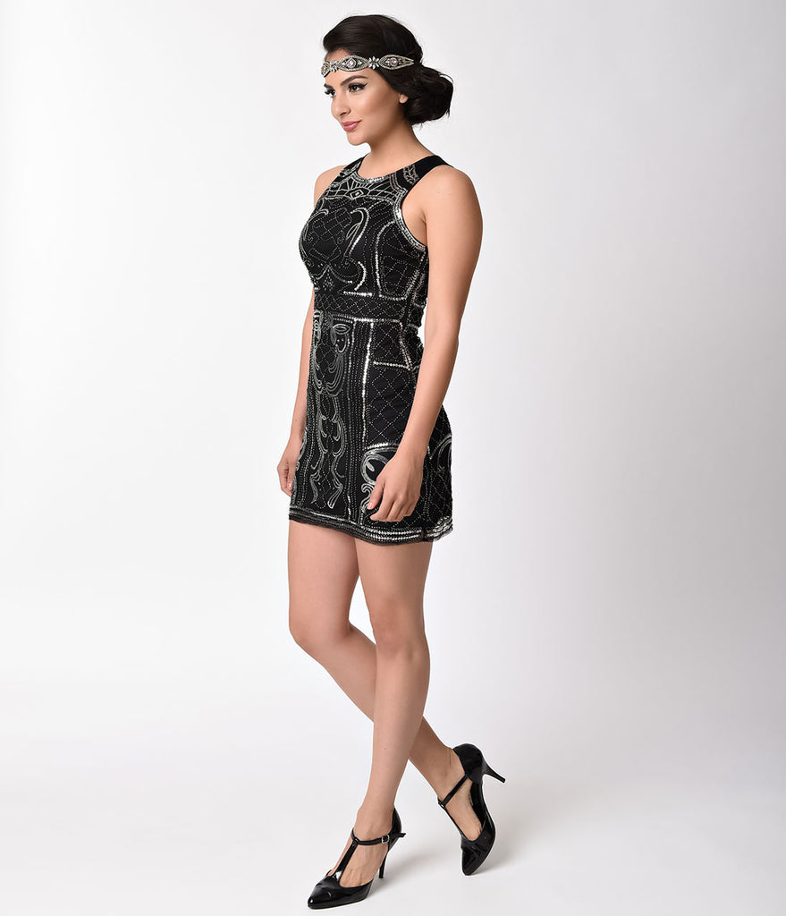 1920s Black & Silver Beaded Sequin Sleeveless Short Flapper Dress