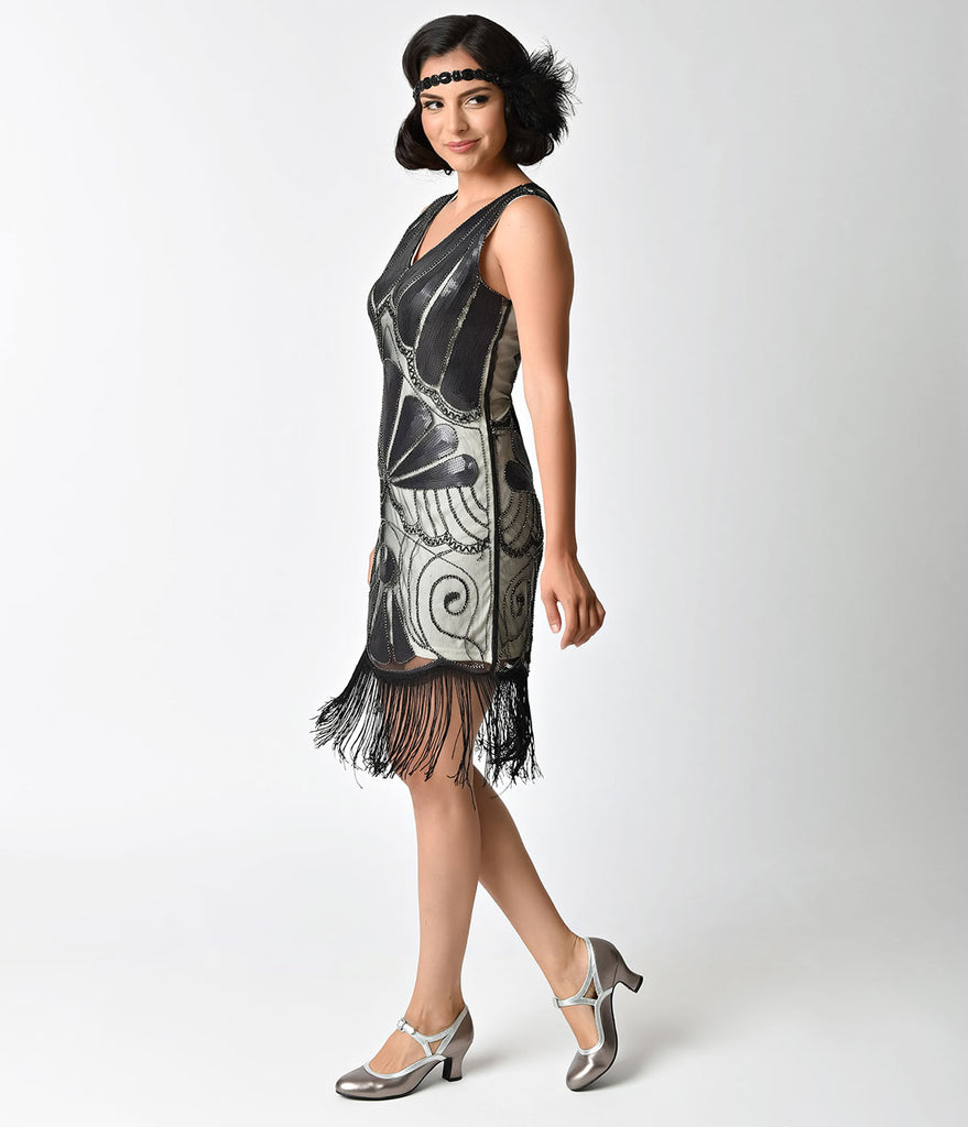 1920s Deco Silver & Black Sequin Beaded Fringe Flapper Dress