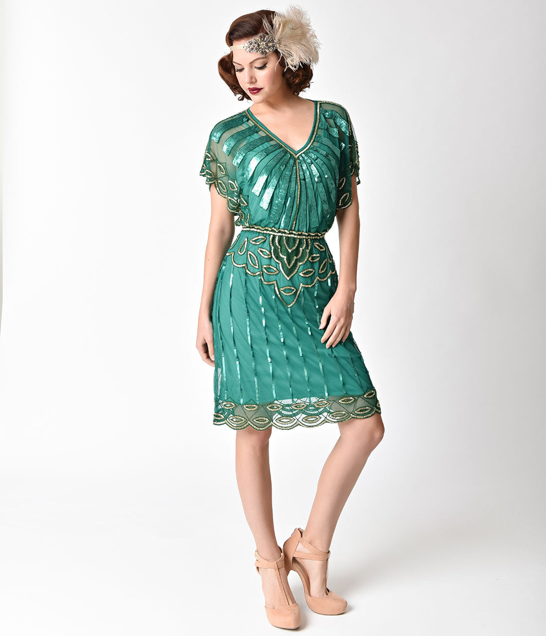 1920s Style Dresses, Flapper Dresses 1920s Emerald  Gold Beaded Deco Angel Sleeve Flapper Dress $128.00 AT vintagedancer.com