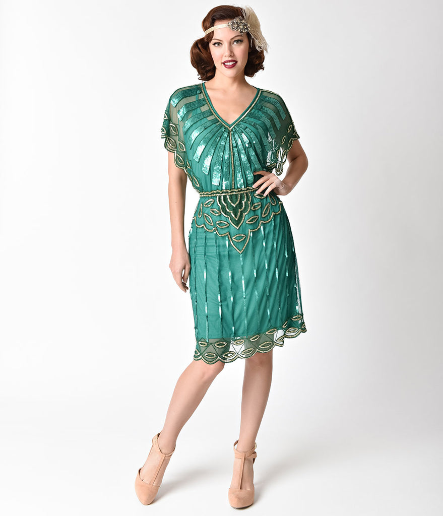 1920s Emerald & Gold Beaded Deco Angel Sleeve Flapper Dress ...
