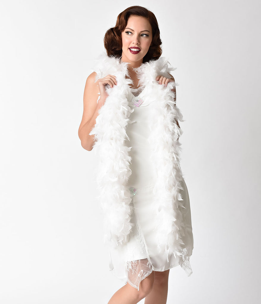 1920s Inspired White Chandelle Feather Boa