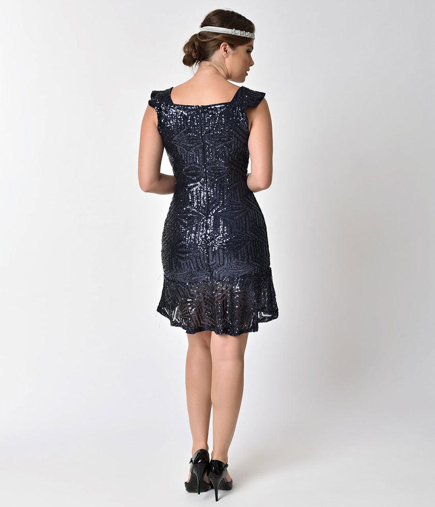 1920s Navy Blue Sequin Beaded Deco Flapper Short Mermaid Dress
