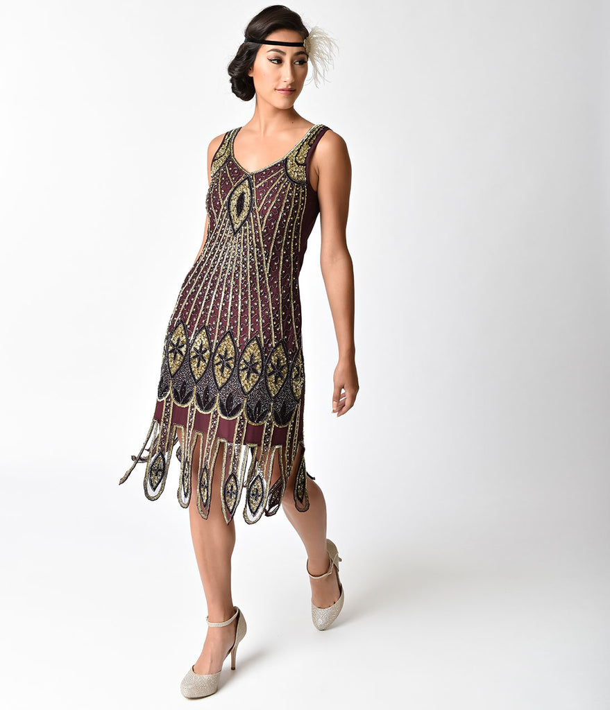 1920s Plum & Gold Beaded Deco Molly Flapper Dress